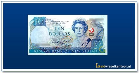 Geldwisselkantoor-10-Dollar-Queen-Elizabeth-II-1990-Nieuw-Zeeland