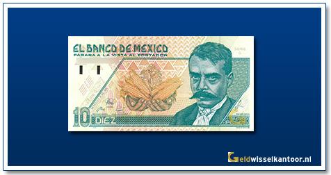 Geldwisselkantoor-10-Nuevos-Pesos-E-Zapata 1992-Mexico