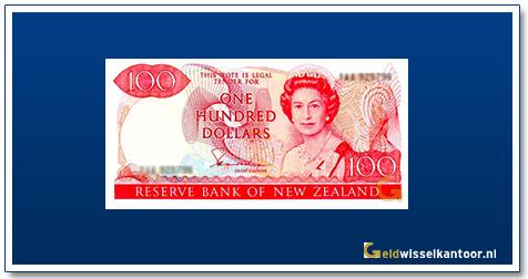 Geldwisselkantoor-100-Dollar-Queen-Elizabeth-II-1981-89-Nieuw-Zeeland
