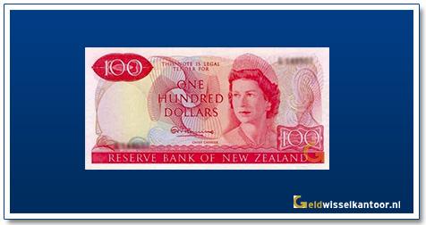 Geldwisselkantoor-100-Dollar-Queen-Elizabeth-II-Nieuw-Zeeland-1967-77