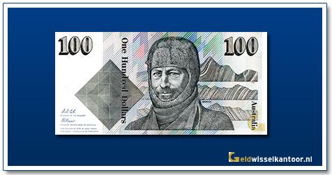 Australische Dollar-100-dollar-Sir-Douglas-Mawson-1984-1992-Geldwisselkantoor