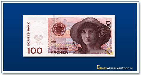 Geldwisselkantoor-100-kroner-Kirsten-Flagstad-noorwegen-1995