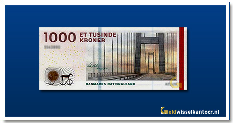 Deense Kronen-1000-Kroner-2009-Great-Belt-Bridge-Denemarken