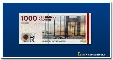 Deense Kronen-1000-Kroner-2009-Great-Belt-Bridge-Denemarken