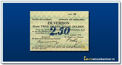 Nederland 2 1/2 Gulden 1914 Zilverbon