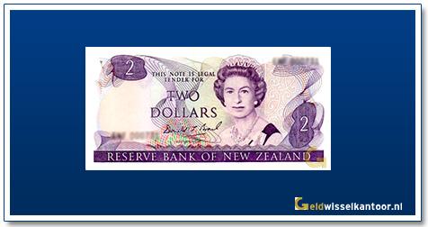 Geldwisselkantoor-2-Dollar-Queen-Elizabeth-II-1981-1992-Nieuw-Zeeland