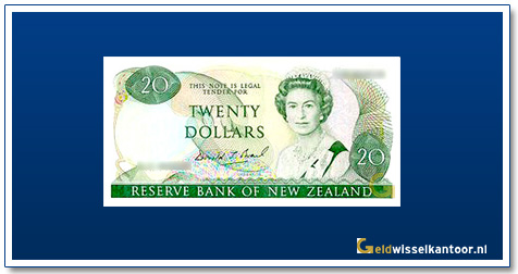 Geldwisselkantoor-20-Dollar-Queen-Elizabeth-II-1981-1992-Nieuw-Zeeland