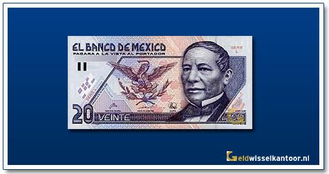 Geldwisselkantoor-20-Nuevos-Pesos-B-Juarez-1992-Mexico