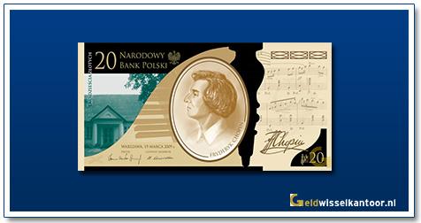 Geldwisselkantoor-20-Zlotych-Frederic-Chopin-Polen-2009