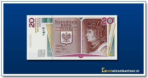 Geldwisselkantoor-20-Zlotych-Jan-Dlugosz-Polen-2015