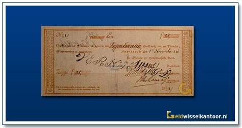 Nederland 25 Gulden 1814 Roodborstje