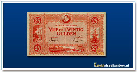 Nederland 25 Gulden 1927 Willem van Oranje rood