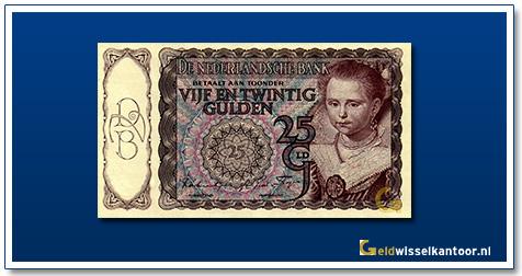 Nederland 25 Gulden 1943 Prinsesje roodbruin