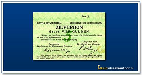 Nederland 5 Gulden 1914 Zilverbon
