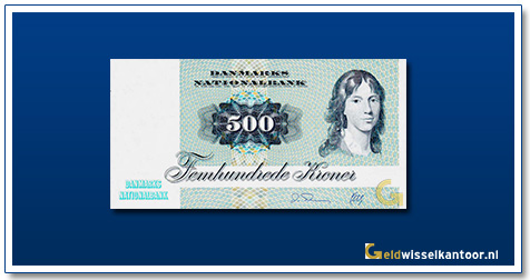 Deense Kronen-500-kroner-1972-88-Unknown-Lady-Denemarken