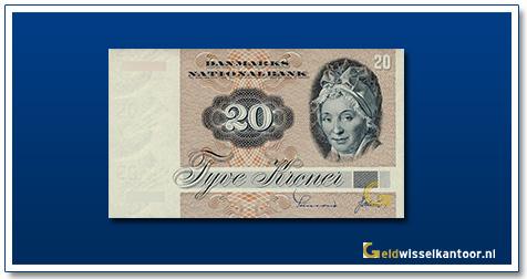 Deense Kronen-20-kroner-Mrs-Tutein-1972-denemarken