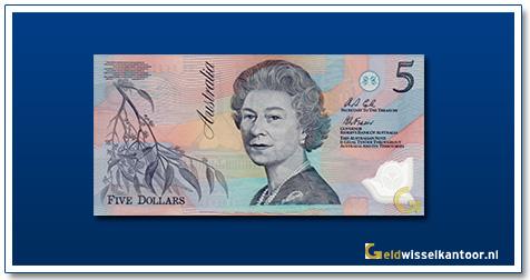 Australische Dollar-5-dollar-biljet-Queen-Elizabeth-II-1992-2001-Geldwisselkantoor