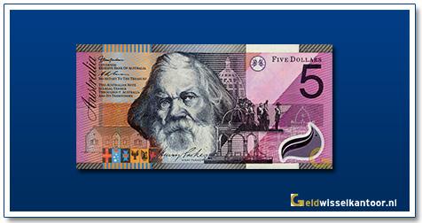 Australische Dollar-5-dollar-sir-henry-parkes-2001-Geldwisselkantoor