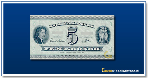 Deense Kronen-5-kroner-bertel-thorvaldsen-1950-1961-denemarken