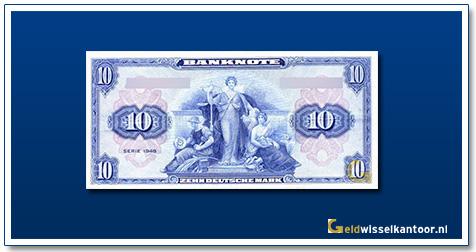 Geldwisselkantoor-10-Mark-Two-women-and-a-man-1948-Duitsland