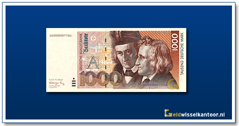 Geldwisselkantoor-1000-Mark-Wilhelm-en-Jakob-Grimm-Duitsland-1991-93