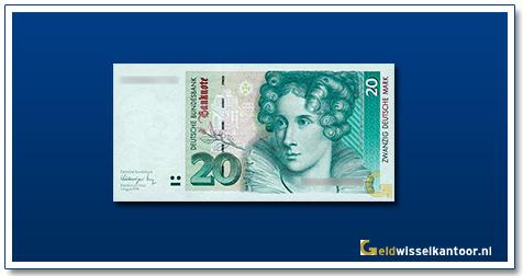Geldwisselkantoor-20-mark-Anette-von-Droste-Hulshoff-Duitsland-1991-1993