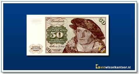 Geldwisselkantoor-50-mark-Lubeck-Holstentor-Duitsland-1960-1980
