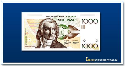 Geldwisselklantoor-1000-Francs-Andre-Gretry-Belgie-1980-96