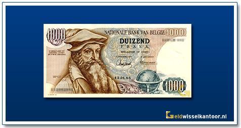 Geldwisselklantoor-1000-Francs-Gerard-Kremer-Belgie-1961-75