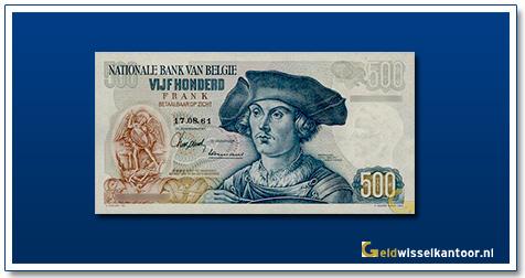 Geldwisselklantoor-500-Francs-Bernard-van-Orley-Belgie-1975