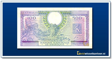 Geldwisselklantoor-500-Francs-Leopold-II-1943-Belgie