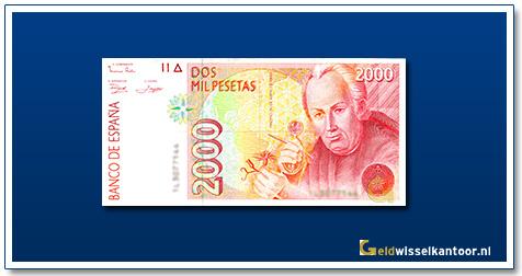 geldwisselkantoor-2000-Pesetas-Jose-Celistino-Mutis-Spanje-1992