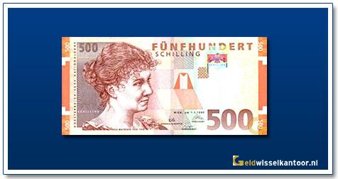 geldwisselkantoor-500-Schilling-Rosa-Mayreder-Oostenrijk-1997