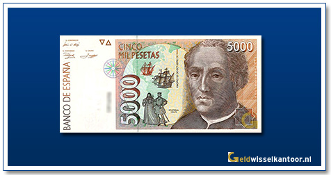 geldwisselkantoor-5000-Pesetas-Christopher-Colombus-Spanje-1992
