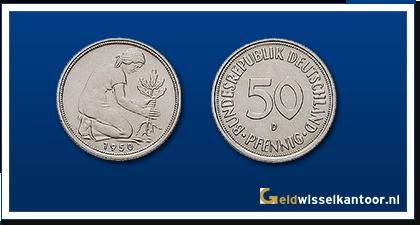 geldwisselkantoor-Duitse-Marken-munten-50-pfennig-1949-2000-duitsland