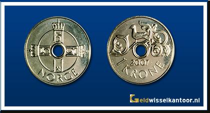geldwisselkantoor-Noorse-Kroon-munten-1-kroner-1997-heden-Noorwegen