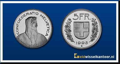 geldwisselkantoor-Zwitserse Frank-munten-5-francs-zwitserland
