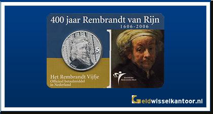 Coincard 5 Euro 2006 Het Rembrandt Vijfje | 400 jaar Rembrandt van Rijn