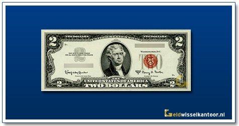 Geldwisselkantoor 2 Dollar Thomas Jefferson Amerika