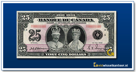Canada 25 Dollar King George V and Queen Mary 1935