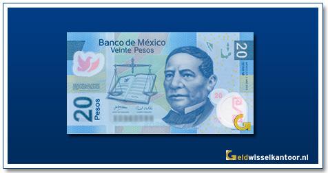 Mexico 20 Pesos Benito Juaréz 2016