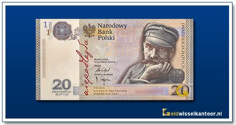 Polen 20 Zlotych Józef Pilsudski 2018
