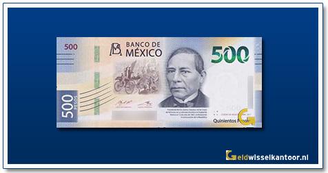 Mexico 500 pesos Benito Juarez 2018