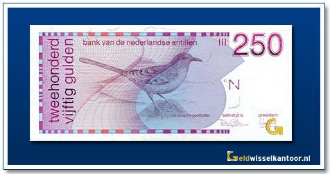 Nederlandse Antillen 250 Gulden Caraibische spotlijster 1986-1990